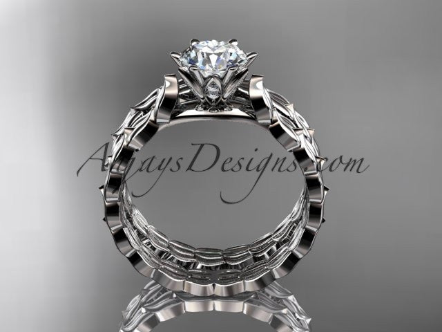 "14k white gold diamond vine and leaf wedding ring, engagement set with a ""Forever One"" Moissanite center stone ADLR35S - AnjaysDesigns"