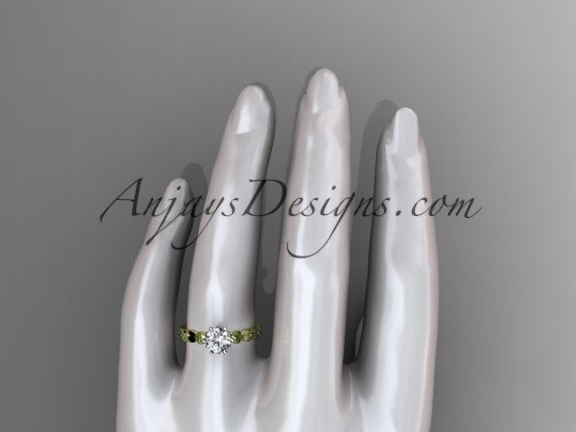 14k yellow gold diamond vine and leaf wedding ring, engagement ring ADLR35 - AnjaysDesigns