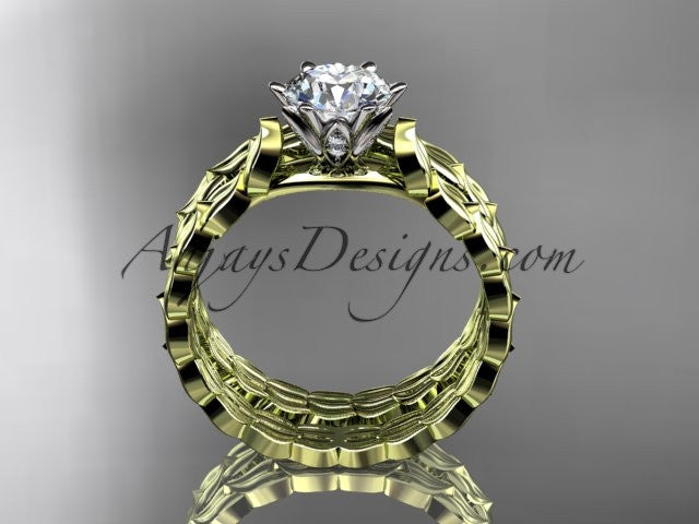 14k yellow gold diamond vine and leaf wedding ring, engagement set ADLR35S - AnjaysDesigns