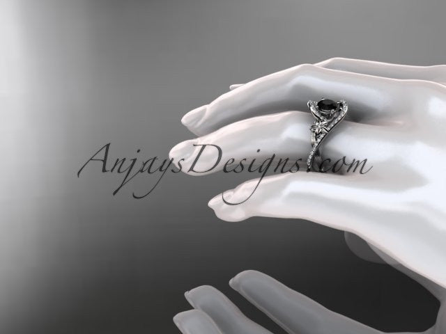 14k white gold leaf and flower diamond unique engagement ring, wedding ring with a Black Diamonde center stone ADLR369 - AnjaysDesigns