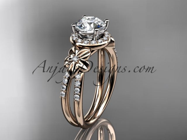 "14k rose gold leaf and flower diamond unique engagement ring, wedding ring with a ""Forever One"" Moissanite center stone ADLR373 - AnjaysDesigns"
