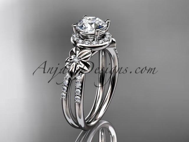platinum leaf and flower diamond unique engagement ring, wedding ring ADLR373 - AnjaysDesigns