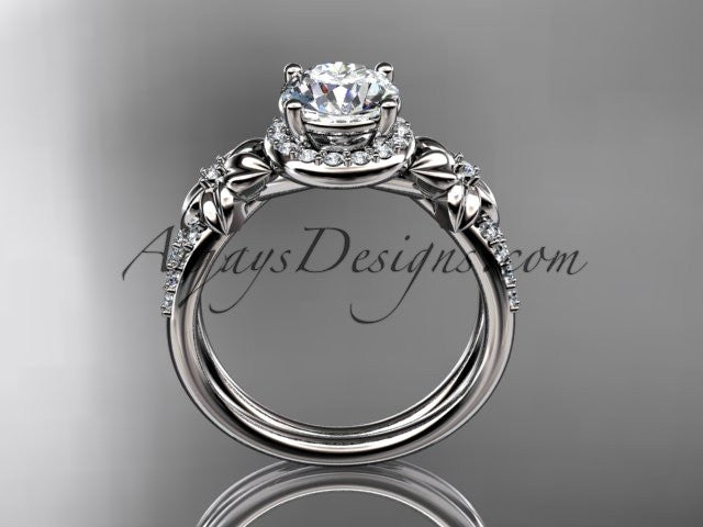 "14k white gold leaf and flower diamond unique engagement ring, wedding ring with a ""Forever One"" Moissanite center stone ADLR373 - AnjaysDesigns"