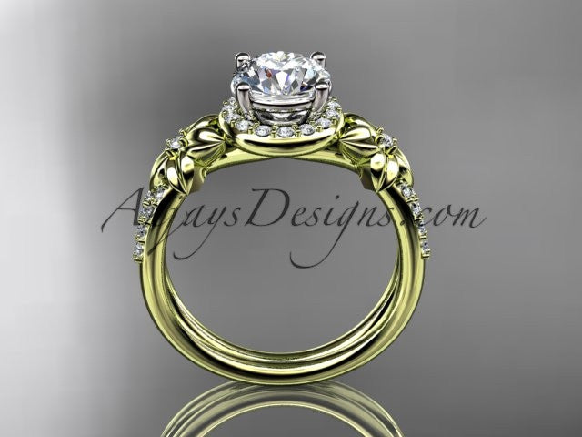 "14k yellow gold leaf and flower diamond unique engagement ring, wedding ring with a ""Forever One"" Moissanite center stone ADLR373 - AnjaysDesigns"