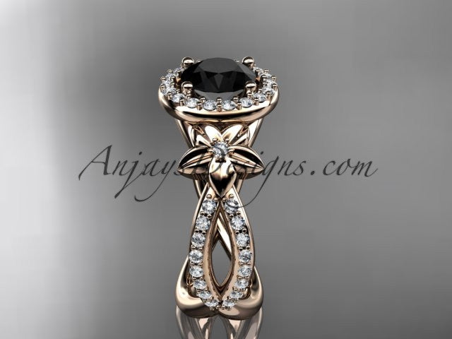 14k rose gold leaf and flower diamond unique engagement ring, wedding ring with a Black Diamonde center stone ADLR374 - AnjaysDesigns