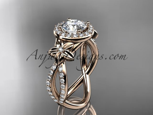 14k rose gold leaf and flower diamond unique engagement ring, wedding ring ADLR374 - AnjaysDesigns