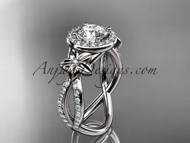 platinum leaf and flower diamond unique engagement ring, wedding ring ADLR374 - AnjaysDesigns