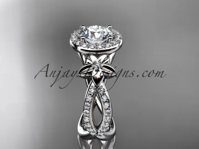"14k white gold leaf and flower diamond unique engagement ring, wedding ring with a ""Forever One"" Moissanite center stone ADLR374 - AnjaysDesigns"