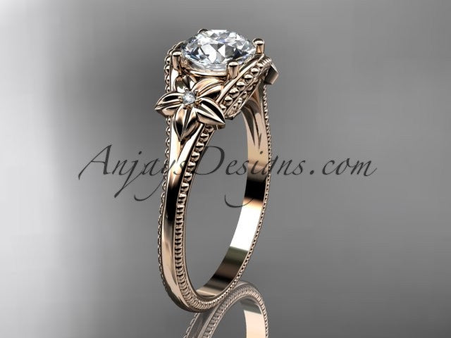 "14k rose gold diamond unique engagement ring with a ""Forever One"" Moissanite center stone ADLR375 - AnjaysDesigns"