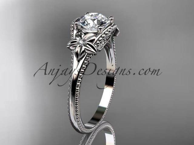 14k white gold leaf and flower diamond unique engagement ring ADLR375 - AnjaysDesigns