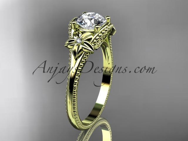 14k yellow gold leaf and flower diamond unique engagement ring ADLR375 - AnjaysDesigns