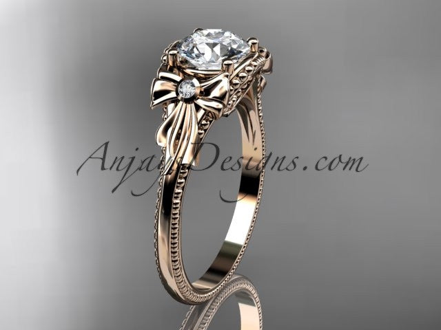 "14k rose gold diamond unique engagement ring with a ""Forever One"" Moissanite center stone ADLR376 - AnjaysDesigns"