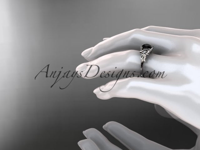 14k white gold leaf and flower diamond unique engagement ring with a Black Diamonde center stone ADLR376 - AnjaysDesigns