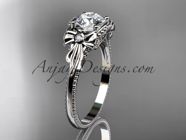 platinum leaf and flower diamond unique engagement ring ADLR376 - AnjaysDesigns