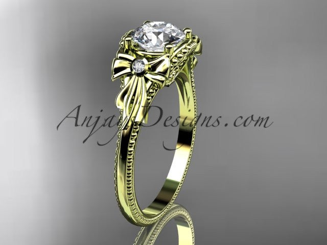 "14k yellow gold diamond unique engagement ring with a ""Forever One"" Moissanite center stone ADLR376 - AnjaysDesigns"