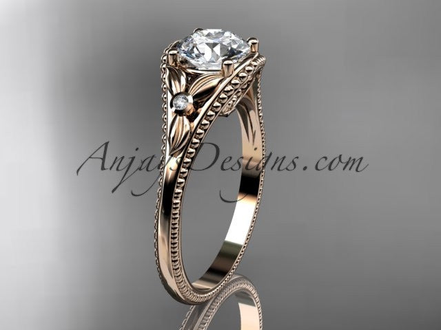 "14k rose gold leaf and flower diamond unique engagement ring with a ""Forever One"" Moissanite center stone ADLR377 - AnjaysDesigns"