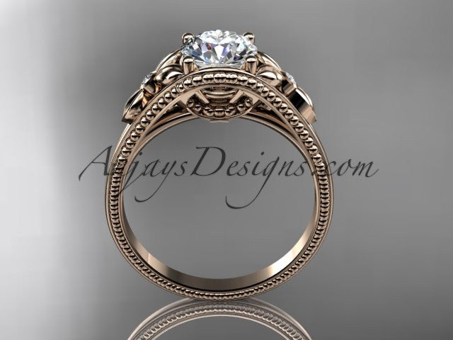 14k rose gold leaf and flower diamond unique engagement ring ADLR377 - AnjaysDesigns