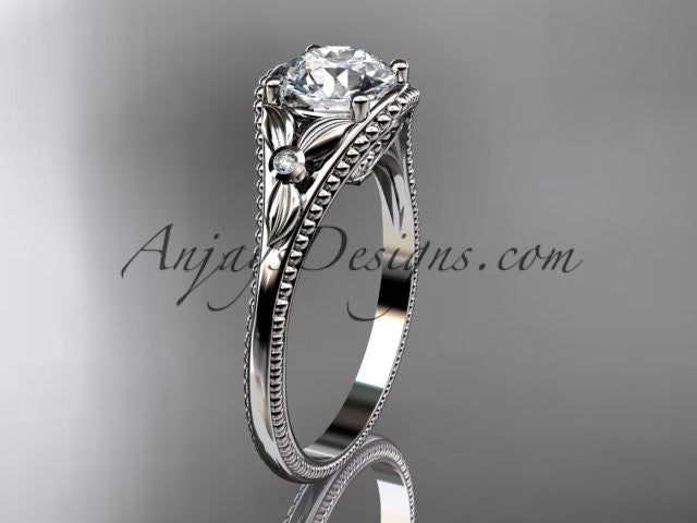 14k white gold leaf and flower diamond unique engagement ring ADLR377 - AnjaysDesigns