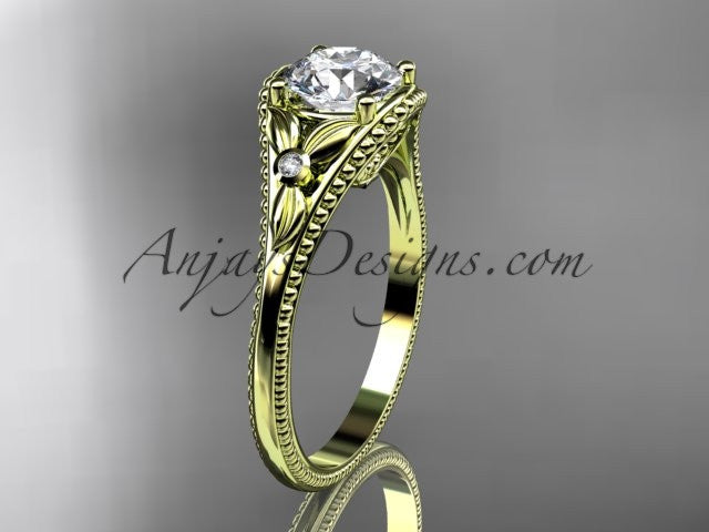 "14k yellow gold leaf and flower diamond unique engagement ring with a ""Forever One"" Moissanite center stone ADLR377 - AnjaysDesigns"