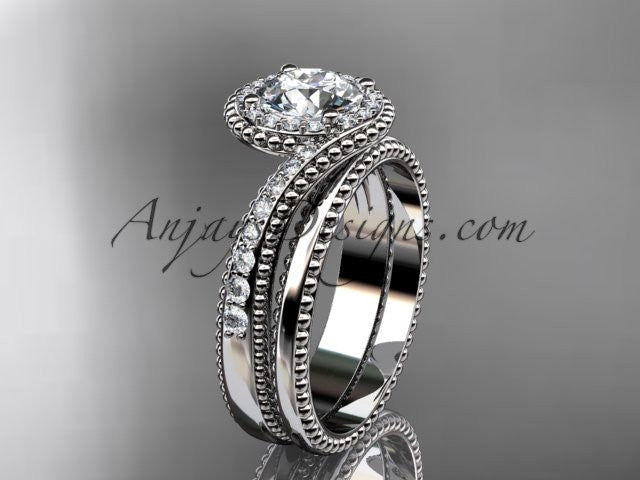 14kt white gold halo diamond engagement set ADLR379S - AnjaysDesigns