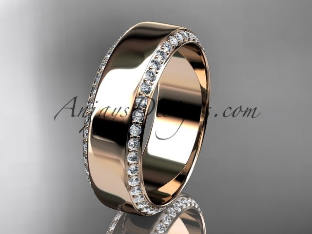 14kt rose gold classic wedding band, diamond engagement ring ADLR380B - AnjaysDesigns