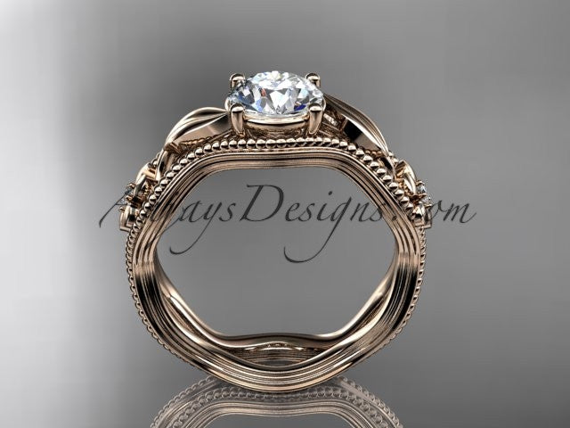 "14k rose gold leaf and flower diamond unique engagement ring with a ""Forever One"" Moissanite center stone ADLR382 - AnjaysDesigns"