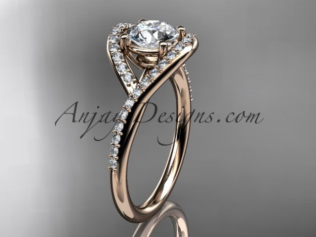 "14kt rose gold diamond wedding ring, engagement ring with a ""Forever One"" Moissanite center stone ADLR383 - AnjaysDesigns"
