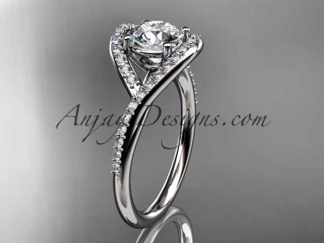 "platinum diamond wedding ring, engagement ring with a ""Forever One"" Moissanite center stone ADLR383 - AnjaysDesigns"