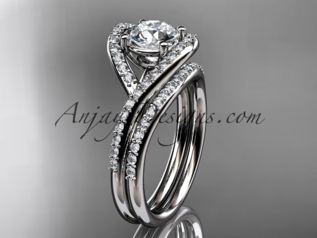 14kt white gold diamond wedding ring, engagement set ADLR383S - AnjaysDesigns