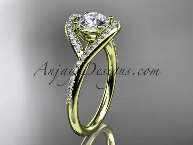 "14kt yellow gold diamond wedding ring, engagement ring with a ""Forever One"" Moissanite center stone ADLR383 - AnjaysDesigns"