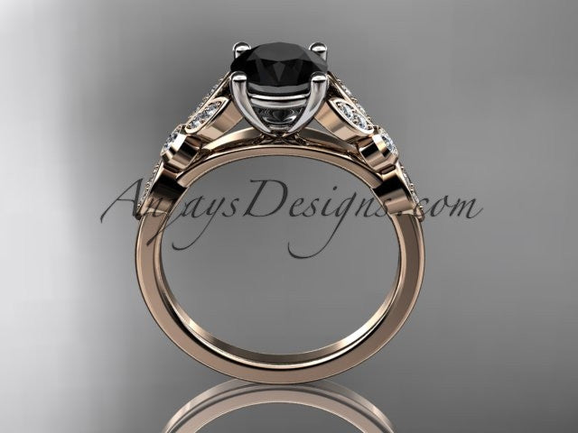14k rose gold unique engagement ring, wedding ring with a Black Diamond center stone ADLR387 - AnjaysDesigns