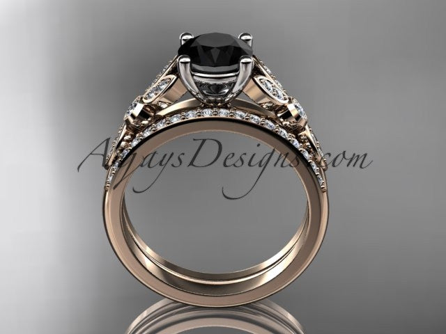 14k rose gold unique engagement set, wedding ring with a Black Diamond center stone ADLR387S - AnjaysDesigns