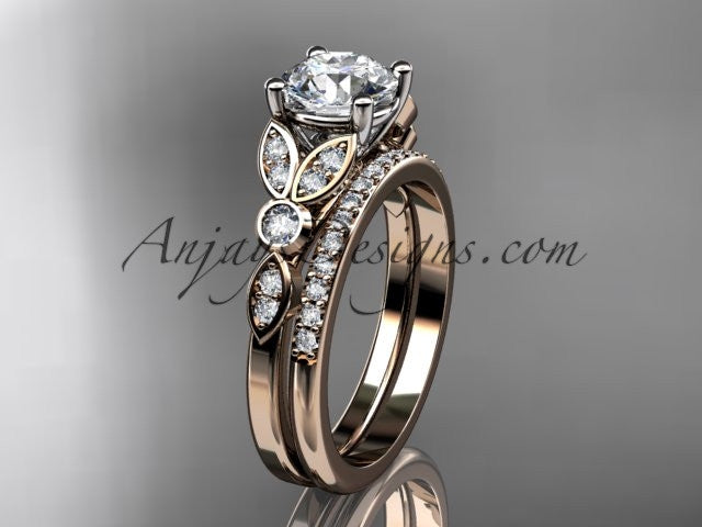 14k rose gold unique engagement set, wedding ring ADLR387S - AnjaysDesigns