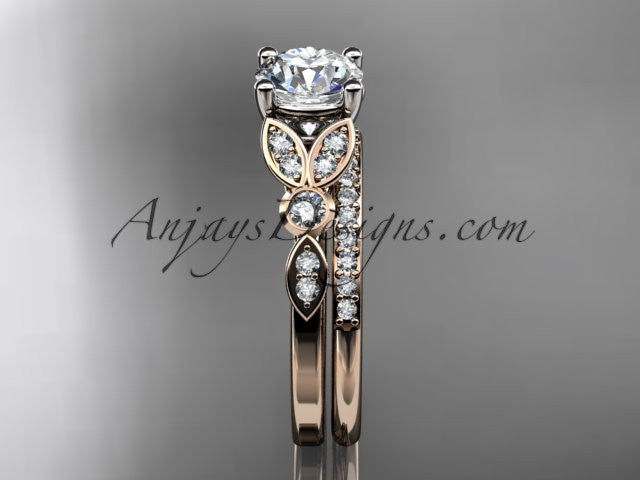 "14k rose gold unique engagement set, wedding ring with a ""Forever One"" Moissanite center stone ADLR387S - AnjaysDesigns"