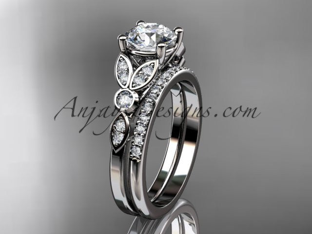 14k white gold unique engagement set, wedding ring ADLR387S - AnjaysDesigns