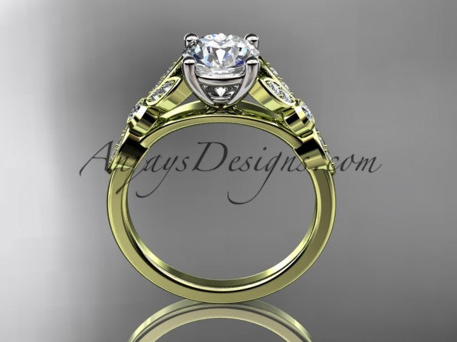 "14k yellow gold unique engagement ring, wedding ring with a ""Forever One"" Moissanite center stone ADLR387 - AnjaysDesigns"