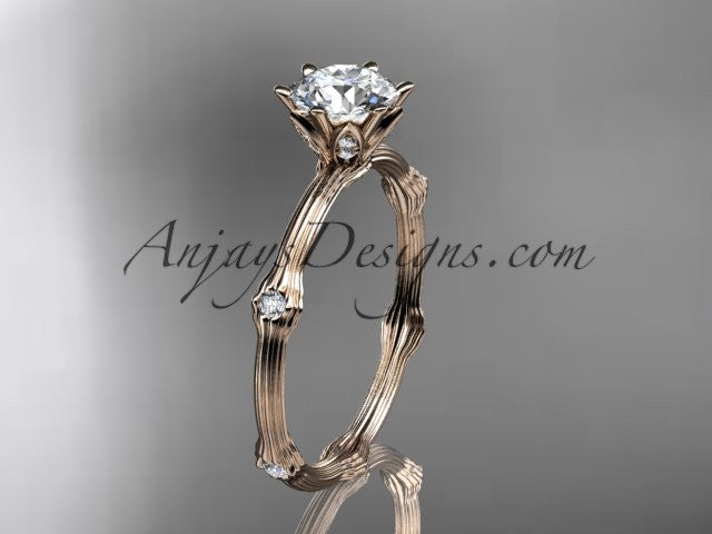 "14k rose gold diamond vine and leaf wedding ring, engagement ring with ""Forever One"" Moissanite center stone ADLR38 - AnjaysDesigns"