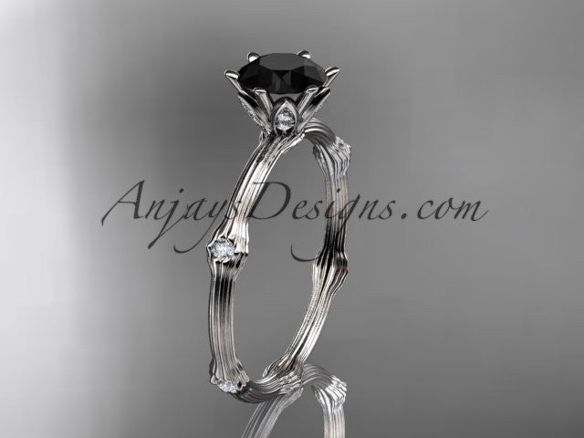 platinum diamond vine and leaf wedding ring, engagement ring with Black Diamond center stone ADLR38 - AnjaysDesigns