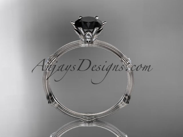 14k white gold diamond vine and leaf wedding ring, engagement ring with Black Diamond center stone ADLR38 - AnjaysDesigns