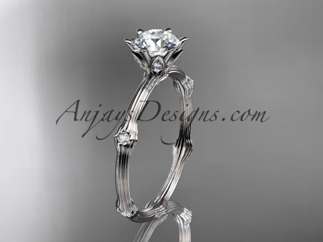 "Platinum diamond vine and leaf wedding ring, engagement ring with ""Forever One"" Moissanite center stone ADLR38 - AnjaysDesigns"