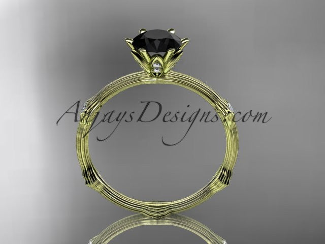 14k yellow gold diamond vine and leaf wedding ring, engagement ring with Black Diamond center stone ADLR38 - AnjaysDesigns
