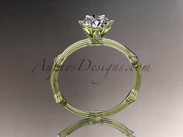 14k yellow gold diamond vine and leaf wedding ring, engagement ring ADLR38 - AnjaysDesigns
