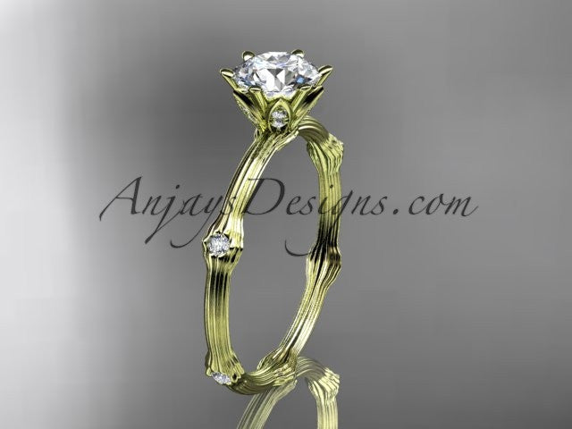 "14k yellow gold diamond vine and leaf wedding ring, engagement ring with ""Forever One"" Moissanite center stone ADLR38 - AnjaysDesigns"