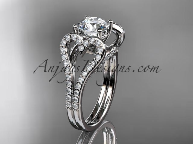 platinum heart engagement ring, wedding ring with a \