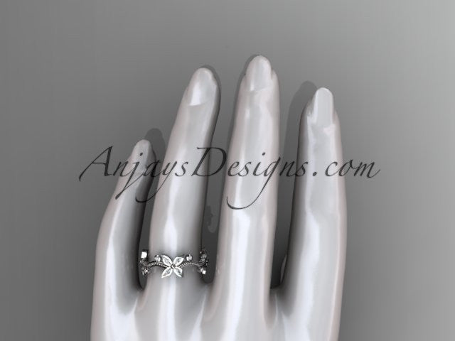 14k white gold diamond leaf and vine wedding ring, engagement ring, wedding band ADLR3A - AnjaysDesigns