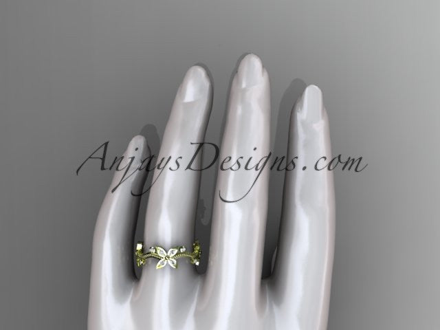 14k yellow gold diamond leaf and vine wedding ring, engagement ring, wedding band ADLR3A - AnjaysDesigns
