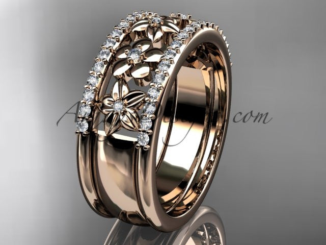 14kt rose gold engagement ring, flower wedding band ADLR406B - AnjaysDesigns