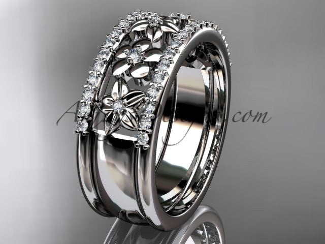 14kt white gold engagement ring, flower wedding band ADLR406B - AnjaysDesigns