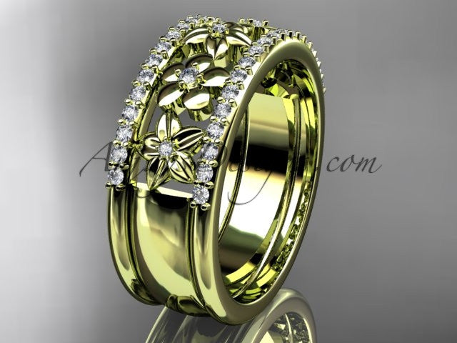 14kt yellow gold engagement ring, flower wedding band ADLR406B - AnjaysDesigns