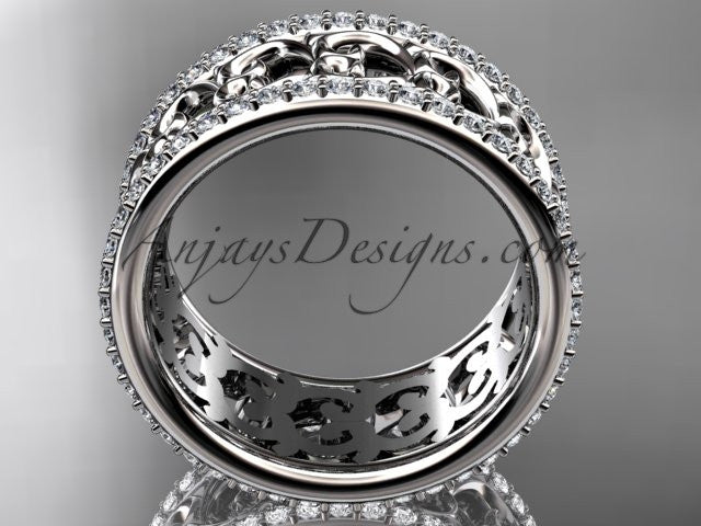 platinum diamond engagement ring, wedding band ADLR423B - AnjaysDesigns